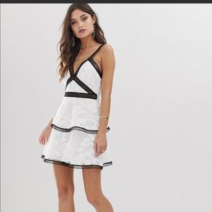ASOS White and Black Floral Broderick Dress